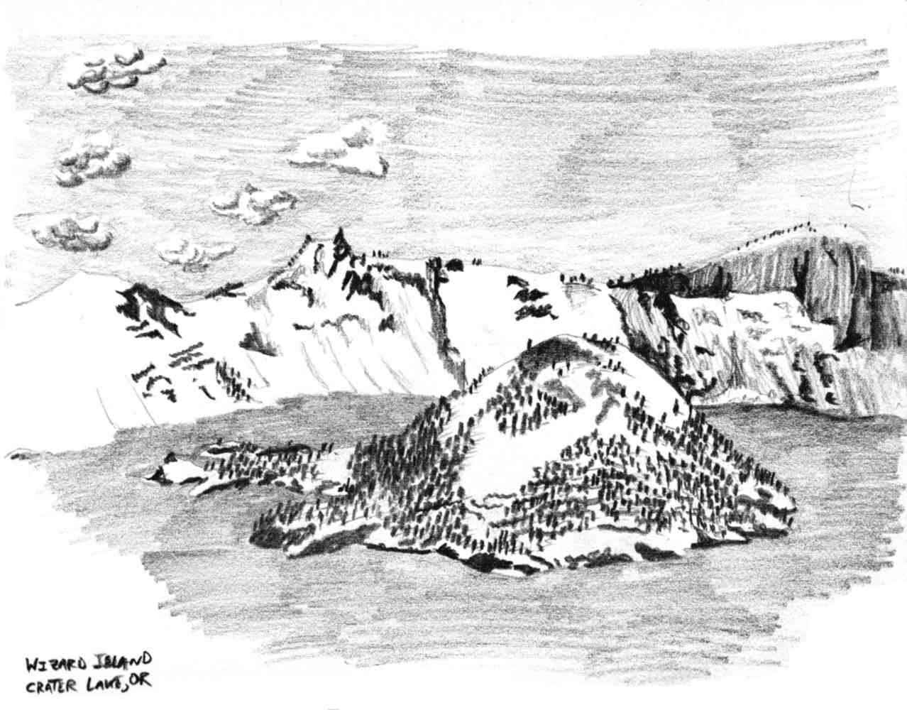 Charcoal drawing of Wizard Island in Crater Lake National Park