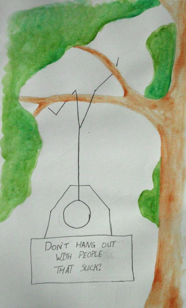 "Ink and watercolor stick figure hanging from tree branch holding sign saying ""Don't hang out with people that suck!"""