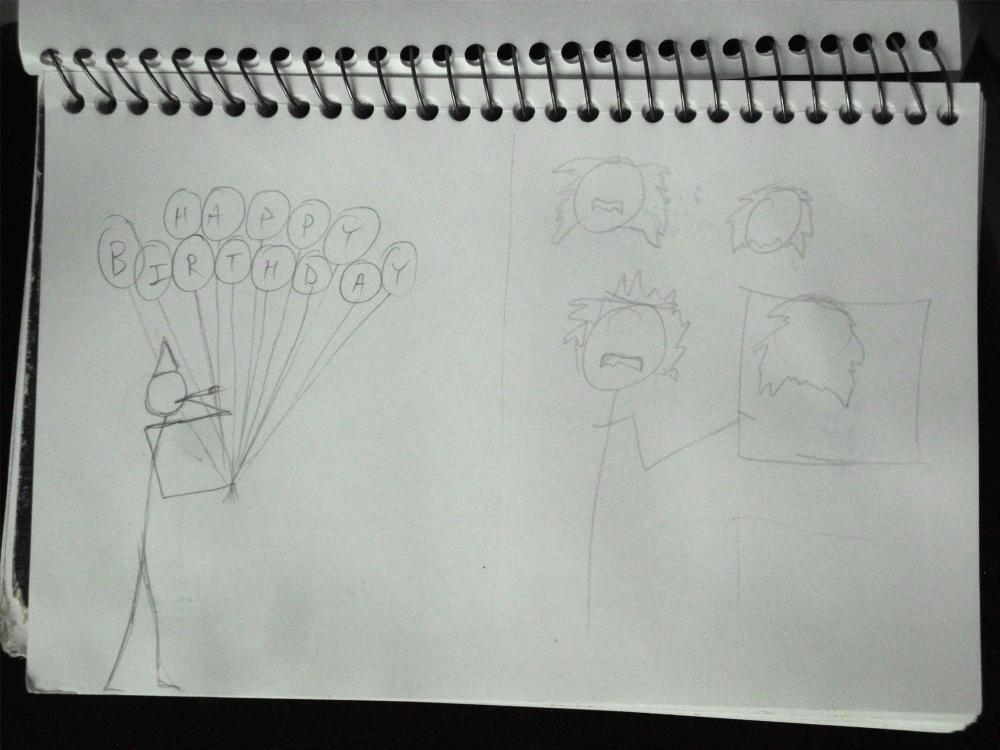 encil sketch of stick figure holding birthday balloons and stick figure Einstein