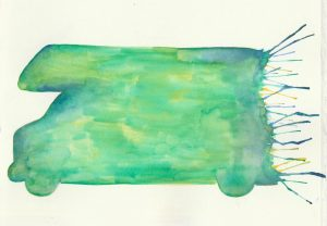 watercolor painting of motorhome
