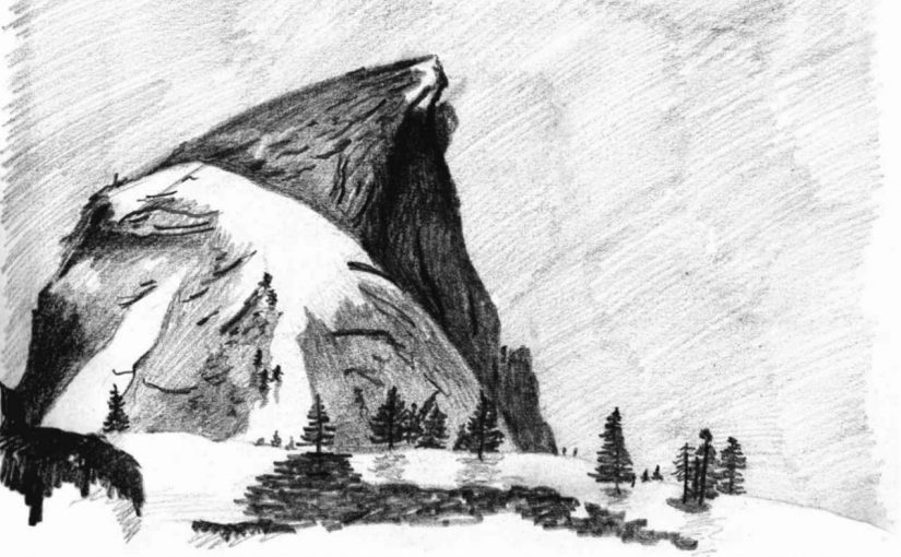 Charcoal drawing of Half Dome in Yosemite National Park