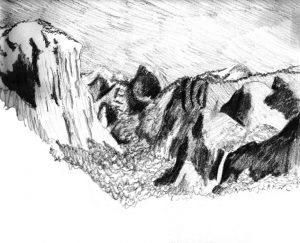 Charcoal drawing of Yosemite Valley in the National Park