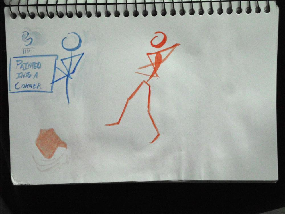 sketch of stick figures in watercolor