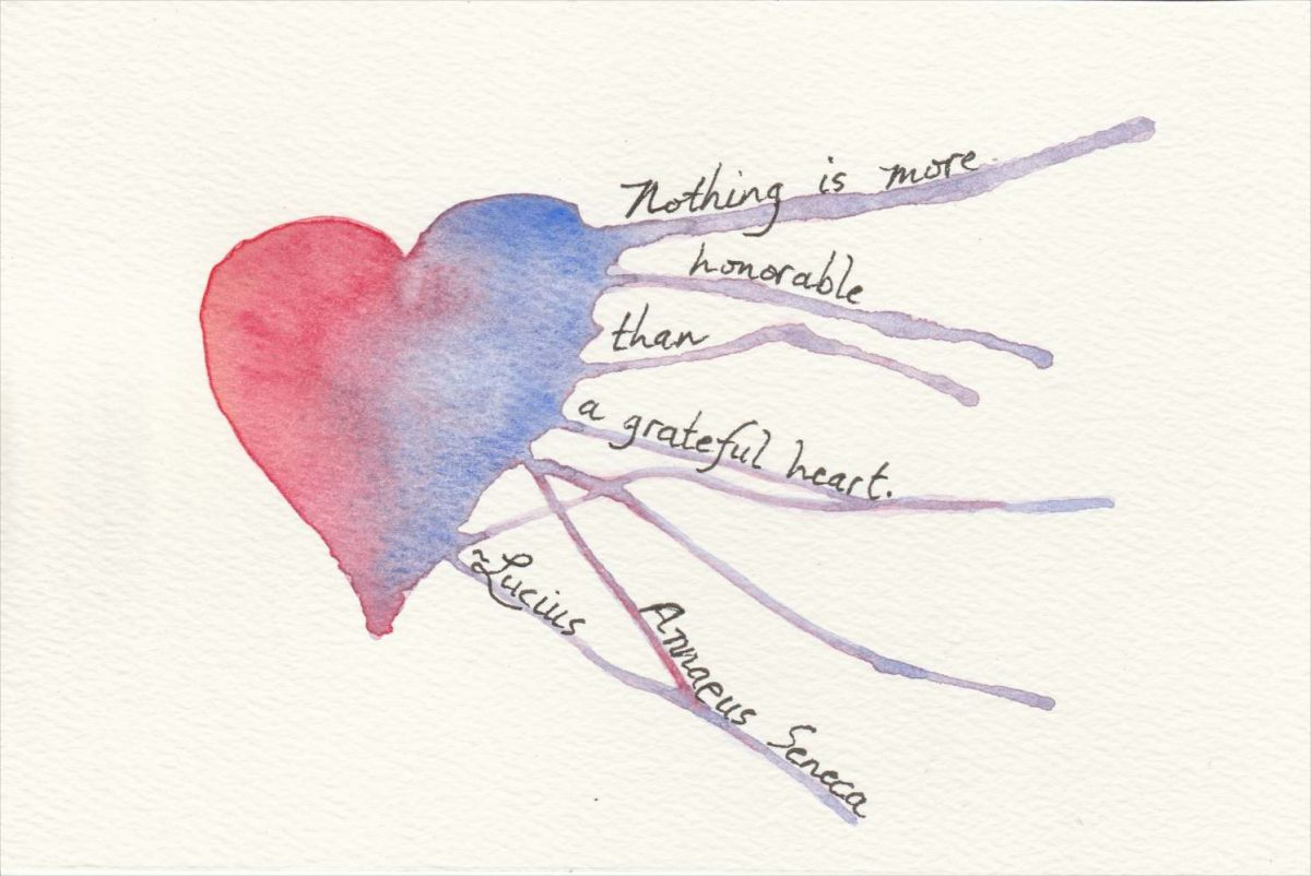 Watercolor Heart with Seneca Quote