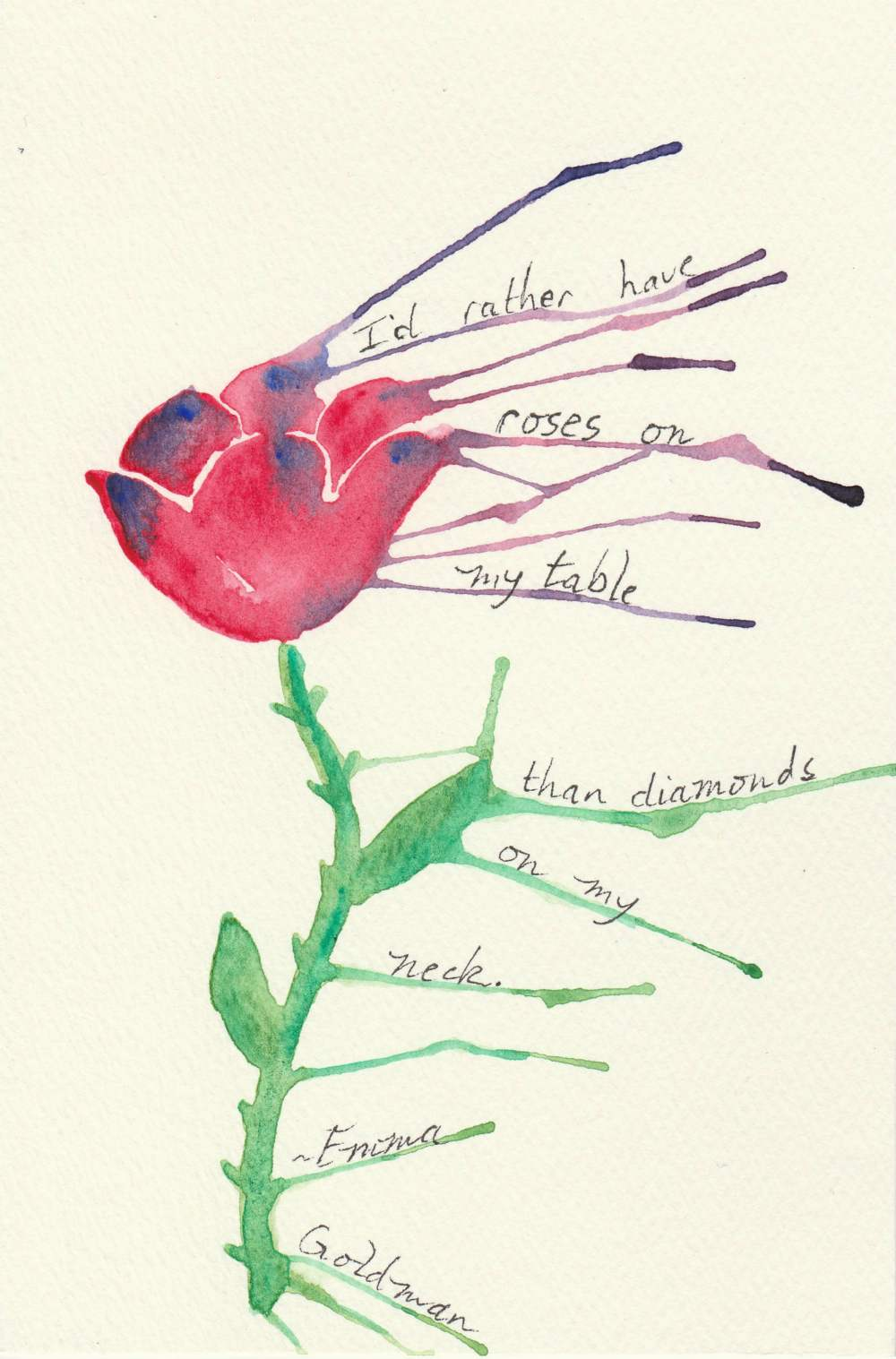 watercolor painting of rose with quote