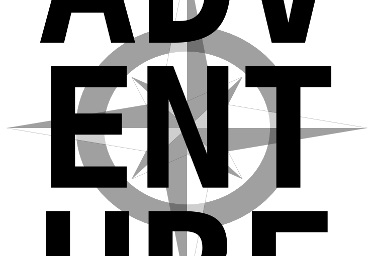 ADV-ENT-URE with compass rose background